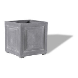 Amedeo Design, LLC - USA - Recessed Panel Square Planter - Our Recessed Panel Square Planter is traditional yet handsome. This square planter has many uses just about anywhere in your garden. Though they look like ancient European & Mediterranean designs in carved stone, our products are made of lightweight weatherproof ResinStone. So authentic, you actually have to lift these planters to convince yourself they're not stone at all! Made in USA.