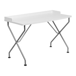 Flash Furniture - Flash Furniture Computer Desk with Silver Frame in White - Flash Furniture - Computer Desks - NANJN2116WHGG - This large surface writing desk will provide you enough space for your laptop and writing materials. The protective ledge border will permit papers from easily falling off the edge of the table.