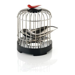 Alessi Coffee and Tea - Alessi Coffee and Tea Tea Matter Tea Strainer - Melodic tea strainer in 18/10 stainless steel with a mirror polished finish. The tea strainer comes in the form of a bird in a birdcage. It was inspired by the social tradition, deeply rooted in Chinese history, with bird-fanciers taking their pet birds in exquisite birdcage to tea as a past-time. The whole object, highly crafted, is an art display in itself. It also combines the elegant lifestyle of the elites in history with the pleasurable tea drinking experience enjoyed by individuals in everyday life. Manufactured by Alessi.Designed in 2010.