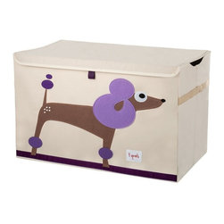 3 Sprouts - 3 Sprouts Toy Chest, Poodle - Our 3 Sprouts purple toy chest in poodle pattern is the perfect organizational tool for any room. With sides reinforced by cardboard our toy chest stands at attention even when empty and the lid keeps all toys out of sight. Large enough to hold whatever you throw in it, this toy chest adds a pop of fun to every room. The 3 Sprouts toy chest makes organizing a room full of toys easy.