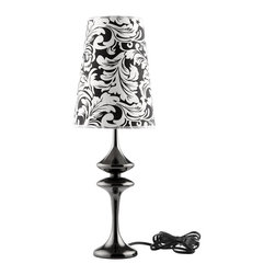 """LexMod - Illusion Table Lamp in Black - Illusion Table Lamp in Black - Make your way to a sensory experience filled with cognitive delights. Illusion both stands out and blends with your surroundings in a surreptitious display of design and style. Crafted from a pearl black body made of iron, and a black and white floral damask patterned shade, Illusion will bring a sense of wonderment to your home. Set Includes: One - Illusion Modern Table Lamp Modern and elegant table lamp, Black and white damask patterned shade, 60 watt light bulb (Not Included), Pearl coating Overall Product Dimensions: 8""""L x 8""""W x 22.5""""Hbrase Dimensions: 4""""L x 4""""W x 15""""H Shade Dimensions: 8""""L x 8""""W x 10""""H - Mid Century Modern Furniture."""