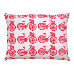 "artgoodies - Bike Pattern Pillow - A cute accent pillow for your couch, chair, or bed and the perfect travel companion! An original hand carved block print has been made into a repeating pattern, then hand printed and sewn into a removable pillow sham just for you! Pillow insert included! Measures  12"" x 16""."