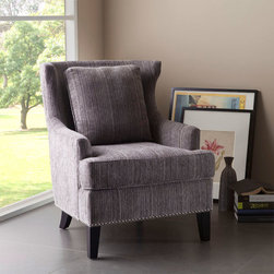 None - Sierra Grey/ Multi High Back Chair - Elevate the style of your home's decor with the classic design of the Sierra chair,featuring solid wood legs with a black finish. This comfortable piece offers a flared high back,and is upholstered in brownish-grey fabric.