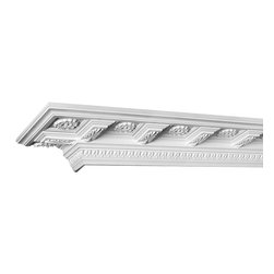 "Inviting Home - Pendleton Crown Molding - decorative crown molding 8-3/16""H x 4-1/2""P x 9-3/8""F x 12'00""L; repeat - 7-1/2"" 4 piece minimum order required crown molding specifications: - outstanding quality crown molding made from high density polyurethane: environmentally friendly material is hypoallergenic and fully recyclable no CFC no PVC no formaldehyde; - front surface of this molding has extra durable and smooth surface; - crown molding is pre-primed with water-based white paint; - lightweight durable and easy to install using common woodworking tools; - metal dies were used for consistent quality and perfect part to part match for hassle free installation; - this crown molding has sharp deep and highly defined design; - matching flexible molding available; - crown molding can be finished with any quality paints; Polyurethane is a high density material--it's extremely lightweight and easy to install (and comes primed and ready to paint). It is a green material meaning its CFC and formaldehyde free. It is also moisture resistant--so it won't shrink flex or mold. What's also great about Polyurethane is that it's completely customizable and can be treated as wood (you can saw it nail it screw it and sand it). In addition our polyurethane material comes primed and ready to paint. There is a four piece minimum requirement for this molding purchase."