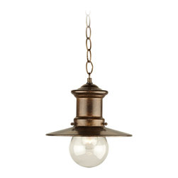 """Elk - Country - Cottage Maritime Collection 10"""" High Hanging Outdoor Light - This designer light fixture is a contemporary take on the antique-style seaside motif. The classic hazelnut bronze finish is complemented by a clear very lightly seeded blown-glass. The combination of all these style elements makes this a visually-appealing outdoor or indoor hanging light. Hazelnut bronze finish. Clear lightly seeded blown-glass. Nautical design. Takes one 60 watt medium bulb (not included). 9"""" wide. 10"""" high.  Hazelnut bronze finish.   Clear lightly seeded blown-glass.   Takes one 60 watt medium bulb (not included).  Damp location rated only.  9"""" wide.   10"""" high."""