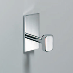 Modo Bath - Glue Robe Hook in Chrome - Glue L 313 Robe Hook without Screws in Chrome, Attached to Wall with Glue (Without Screws), Made in Italy