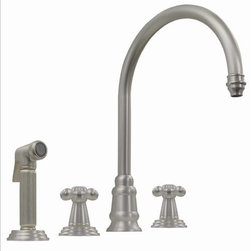 Whitehaus - Whitehaus Wh13664-Ps Evolution Widespread Mixer - Evolution widespread mixer with gooseneck swivel spout, cross style handles