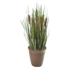 Pier Surplus - Artificial Reed Plant with Pot - Cattails and Reed Grass in Red Pot #HD222542 - This realistic-looking reed plant comes in a ceramic pot that has been finished in a dark gray shine. Made from the highest-quality materials, its leaves and cattails will fool the most discerning eye while freeing you from watering and care usually needed by this water-loving species. This artificial plant is a great gift for office mates, neighbors, and anyone looking for a quick way to freshen a table's look.