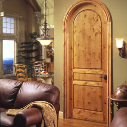 Tuscan door - TruStile TS3180 radius-top in knotty alder with square stick (SS) sticking and raised (A) panel