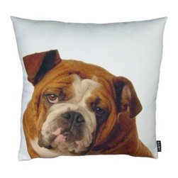 Lava - English Bulldog 18X18 Decorative Pillow (Indoor/Outdoor) - 100% polyester cover and fill.  Suitable for use indoors or out.  Made in USA.  Spot Clean only