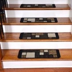 """Dean Flooring Company - Dean Washable Non-Skid Carpet Stair Treads - Hop Scotch Chocolate - Dean Washable Non-Skid Carpet Stair Treads - Hop Scotch Chocolate : Washable Carpet Stair Treads - Hop Scotch Chocolate Hop Scotch Chocolate Washable Stair Treads! From the industry leader in carpet stair treads. We have been producing quality carpet stair treads for more than fifteen years. Protect stairs and steps in style and comfort with good looking, long wearing stair treads. Rectangle shaped, finished edge style in durable long-lasting nylon quality construction. Perfect for heavily trafficked areas Reduce slips/increase traction Great for pets and pet owners Washable non-skid foam back (treads must be securely attached to your stairs). Cuts down on track-in dirt Extends the life of your hardwood stairs Easy to keep clean-spot clean and vacuum Machine serged with color matching yarn Easy do-it-yourself installation (use our double-sided mesh carpet tape - sold separately) Each tread is approximately 26"""" WIDE x 9"""" LONG! Set includes 13 stair treads Matching runners available. Add a touch of warmth and style to your stairs today with new stair treads from Dean Flooring Company!"""