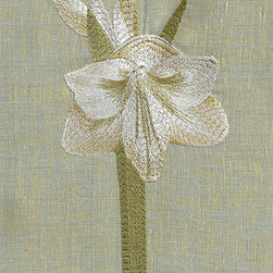 Anali - Amaryllis Guest Towel - Beutiful holiday Amaryllis flower embroidered on Belgium linen. (14x20) Made in USA. Gentle Wash with no bleach products. Lie flat to dry, hot steamy iron.