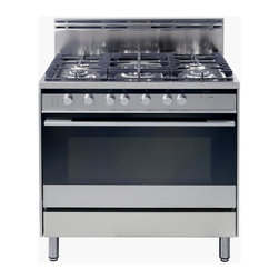 """36"""" Gas Range - OR36SDBGX2 - This  range combines the convenience of an extra large gas oven with the control and precision of an integrated five burner gas cooktop. A fresh, clean look reflects the latest design philosophies from Europe, featuring refined control knobs and easy to follow icons on a simple designer control panel."""
