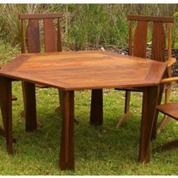 Ironwood Outdoor Dining Table Set - Six sided table with chairs, hand scraped to help achieve a long lasting deep luster. Solid Ironwood plank construction. The set is finished with semi-gloss polyurethane over an oil and varnish mix.