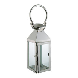 Kathy Kuo Home - Colette Modern Polished Silver Square Candle Lantern - Brighten your next gathering with this modern candle lantern. The mid-sized lighthouse is crafted from brass and polished with silver nickel for an enduring shine. Solo or grouped, this lantern becomes a stunning beacon of light.