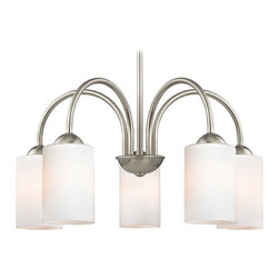 Design Classics Lighting - Chandelier with White Glass in Satin Nickel Finish - 591-09 GL1028C - Transitional satin nickel 5-light chandelier satin white cylinder glass shades. Takes (5) 100-watt incandescent A19 bulb(s). Bulb(s) sold separately. UL listed. Dry location rated.