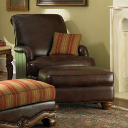 """Aico Furniture - AICO Furniture - Toscano Leather Club Chair and Ottoman Set in... - For any questions please call 800-970-5889.AICO - 34935-BROWN-26 - Toscano Leather Club Chair and Ottoman Set in Brown�Features: Set includes club chair and ottomanToscana collectionUpholstered in Brown color leatherBiscotti finishEnglish ArmT-seat cushionTight scroll backOne fabric pillowDimensions: Club Chair: 44"""" H x 43"""" W x 42"""" DOttoman: 19.5"""" H x 35"""" W x 20"""" D"""