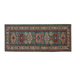 1800-Get-A-Rug - Teal Super Kazak Hand Knotted 100% Wool Tribal Runner Oriental Rug Sh15514 - Our Tribal & Geometric Collection consists of classic rugs woven with geometric patterns based on traditional tribal motifs. You will find Kazak rugs and flat-woven Kilims with centuries-old classic Turkish, Persian, Caucasian and Armenian patterns. The collection also includes the antique, finely-woven Serapi Heriz, the Mamluk Afghan, and the traditional village Persian rug.
