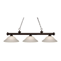 Z-Lite - Z-Lite 3 Light Billiard Light - Traditional charm defines this three light fixture. The bar is finished in oil rubbed bronze, and is paired beautifully with three white swirl glass shades, for a warm and inviting glow.
