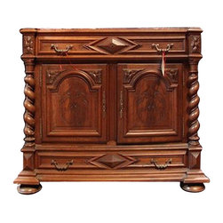 19th Century Carved Mahogany Marble Top Side Cabinet - 19th Century Carved Mahogany Marble Top Side Cabinet