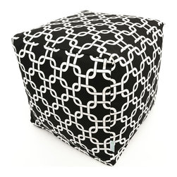 Majestic Home - Indoor Black Links Small Cube - The classic beanbag just got cubed — with a cool chain pattern on cotton twill. Fabulous and comfortable, this versatile piece functions as a stool or a table in your favorite modern setting.