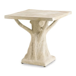 Currey and Company - Stillwood Table - The artful styling of the Stillwood Table is both whimsical and practical and allows this piece of faux bois to blend to outdoor surroundings perfectly.