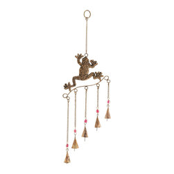 Frog Wind Chime with Copper Finished Design - Introduce your nature back into your life and enhance your garden with the soothing sounds of this metal frog wind chime. This metal frog wind chime will add a touch of romance and beauty to the decor. This copper finished metal frog wind chime will make a wonderful gift as well. With colorful beads and fun movement this wind chime can be easily placed in any outdoor space. The lovely sounds of the soothing chimes through the gentle breeze will create a musical ambience. This beautiful piece of garden art is a delightful decorative accent to any home or yard. This wind chime is a beautiful piece of garden art. With its striking appeal, this piece easily acts as a conversation starter. It comes with following dimensions: