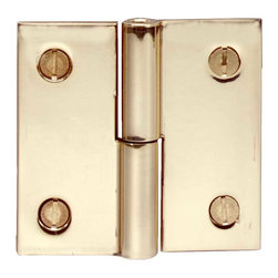 """Renovators Supply - Cabinet Hinges Bright Solid Brass Square 2 x 2"""" LOL Cabinet Hinge - We make our hinges from a solid block of brass for twice the thickness and strength of most hinges!  The wings are solid brass. Countersunk holes allow mounting screws to fit flush.  The baked-on finish is guaranteed against tarnish for 10 years of gleaming beauty.  The cylinder is precision-machined for a perfect fit and the stainless steel pin will never corrode or bind.  When the hinge is open flat it is 2"""" x 2"""". Our small finials fit these hinges.  This is a left lift-off hinge (with the door opening toward you, the knob should be on the left side)."""