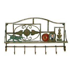 Welcome Home Accents - Classic Antiqued Bronze Wall Shelf - Classic wall shelf adds storage and display to any wall with its antique appearance adding rustic traditional style to any room. Metal display shelf with 5 hooks for hats or coats in an antiqued bronzed finish-includes shelf for storage or display and hooks on back for easy hanging