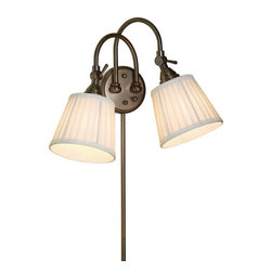 None - 2-light Bronze Plug-in Transitional Wall Sconce - Illuminate your home with this two-light transitional wall sconce. Completed by a burnished bronze finish, this plug-in wall sconce features off-white silk shades to cast a radiant glow in your home.