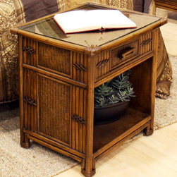 Hospitality Rattan - Polynesian 1 Drawer Nightstand in Antique Fin - Made of Wood Frame & Woven Wicker . Finished in Antique Color. Durable, yet elegant construction. Fully assembled. Metal Glides for the drawers. Tropical island style design. Overall: 20 in. L x 22 in. W x 24 in. H (26 lbs.)This Polynesian bedroom collection is one of our fine rattan and bamboo sets. The great looking tropical wicker bedroom set. In addition metal glides are used on all the case good pieces. Glass is not included.