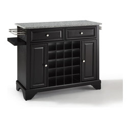 Crosley Furniture - Crosley Furniture Lafayette Solid Granite Top Wine Island in Black - Wine lovers will entertain in style with Crosley's Kitchen Wine Cart.  Whether you're a connoisseur of fine wines or simply a casual fan, Crosley's Kitchen Wine Cart offers the utmost in entertaining convenience.  The cabinet features a 20-bottle wine rack and side-mounted 3-bottle wine valet and the top provides ample surface space for presentation of your wine and cheese alike. Raised panel doors conceal the adjustable inner shelving and two sliding drawers provide several options for storage. Wine cabinets come in one of four signature Crosley finishes featuring one of four surfaces - including wood, stainless steel or solid granite.