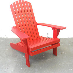 Beliani - Adirondack Solid Red Plastic Plank Chair - The Adirondack chair is made from very dense poly resin and is extremely durable and weather resistant.  This bold chair will not rot or mold and will give you great back support.