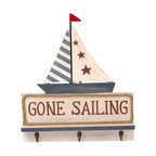 """Handcrafted Model Ships - Wooden Gone Sailing Plaque with Hooks 17"""" - Nautical Decor - Let guests to your home, beach house, yard, playground or child's bedroom know where you'd rather be with this fun and playful sign. The perfect addition to any beach decor or seaside nautical decor theme, this colorful sign includes three pegs for hanging coats, keys or other items. Lightly worn as if by the salty sea air and blown dune sand for many years, it is a gift you'll treasure for many more years to come."""