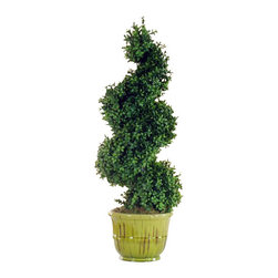Winward Designs - Spiral Tree In Urn Flower Arrangement - Beautifully shaped boxwoods make the perfect statement on a front porch. Two of these permanent spirals would create a balanced welcome on either side of your front door. You could even drape them with twinkle lights for an extra festive look.