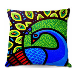 DiaNoche Designs - Pillow Woven Poplin - Peacock - Toss this decorative pillow on any bed, sofa or chair, and add personality to your chic and stylish decor. Lay your head against your new art and relax! Made of woven Poly-Poplin.  Includes a cushy supportive pillow insert, zipped inside. Dye Sublimation printing adheres the ink to the material for long life and durability. Double Sided Print, Machine Washable, Product may vary slightly from image.