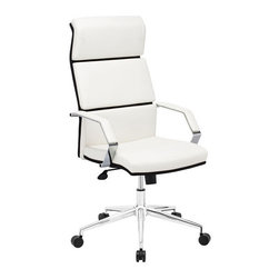 Zuo Modern - Lider Pro Office Chair White - Add chic style and comfort to your workspace with our Lider Pro Office Chair. It is equipped with a segmented back cushion, padded armrests, adjustable seat height and tilt mechanism and casters, making it comfortable, sturdy and stylish. It's the perfect chair to compliment any office.