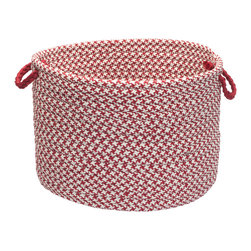 "Colonial Mills, Inc. - Outdoor Houndstooth Tweed, Sangria Utility Basket, 14""X10"" - A flawless fusion of fashion and function, this polypropylene storage basket travels easily from playroom to pool. Its sporty houndstooth print is stain- and fade-resistant, so you can use it to tote laundry, logs, toys or towels."