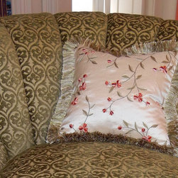 Elegant Living Room - The beautiful channel back chair coupled with embroidered silk accent pillow and brush fringe was a winning combination!  The Hickory White Chair was stunning with the European classical motif of the chenille fabric.