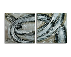 """Omax Decor - Swept Away Hand painted 2 Piece Metal Art Set - Overall size: 32"""" x 64"""" (32"""" x 32"""" x 2 pc). Enjoy a 100% Hand Painted Wall Art made with acrylic paints on brushed aluminum plate attached to canvas stretched over a 1"""" thick wooden frame. The painting is professionally hand-stretched and ready to hang out of the box. With each purchase of our art you receive a one of a kind piece due to the handcrafted nature of the product."""