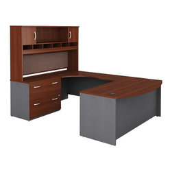 Bush - Bush Series C 4-Piece U-Shape Left-Hand Computer Desk in Hansen Cherry - Bush - Office Sets - WC24446PKG1 - Bush Series C 2 Drawer Lateral Wood File Cabinet in Hansen Cherry (included quantity: 1) Safe, secure and generous, the Bush Series C Two Drawer Lateral File Cabinet features a hefty size and a simple, neutral style. This luxury lateral filing cabinet is a bold and efficient addition to any executive suite. Features:
