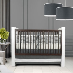 Sabra Baby Bedding - Pewter and white is becoming a more popular color scheme for unisex nurseries. It has an urban yet elegant feel to it.