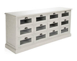 Kathy Kuo Home - Battier Speckled Gray Oak Chest of Drawers Sideboard - The Battier sideboard solves that eternal problem:  a beautiful room cannot shine if it's cluttered.  With twelve - count em, twelve! - drawers, this chest will keep all that clutter contained and organized. Use this rustic, solid oak piece as a stately companion to your dining table or to hold curiosities in the game room of your manor's east wing. You do have an east wing, right?