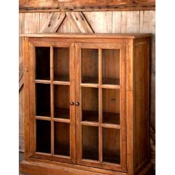 Park Hill Collection Pine Furniture - Pine Bookcase with Glass Pane Doors
