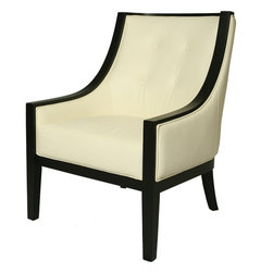 Pastel Furniture - Pastel Eurowayne Club Chair - Ballarat Black Wood - Top Grain White Leather - The Eurowayne club chair brings traditional comfort with clean and contemporary style. This chair is upholstered in top grain white leather with ballarat black wood frames adding not only a stylish look but modern appeal as well.