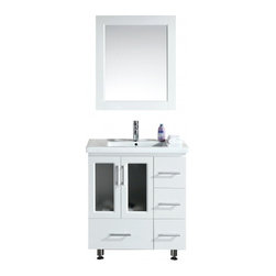 "Design Element - Design Element B30-DS-W Stanton 32"" Single Sink Vanity Set with Drop-in Sink - Design Element B30-DS-W Stanton 32"" Single Sink Vanity Set with Drop-in Sink in White"