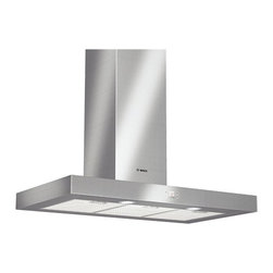 Bosch Stainless Steel Slim Silhouette Hood - This is a very nice unit with a slim, modern profile. We actually have this unit in our own kitchen, it handles all but the smokiest items on the stove with ease. If clients want more power we generally try to install an external blower to get the noise out of the kitchen.