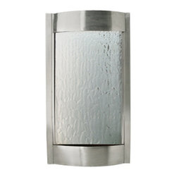 Bluworld - Contempo Luna Water Fountain - Stainless Steel & Silver Mirror - The Contempo Falls water fountain combines simplicity of design with a futuristic look that will bring your living or office space up to date. Our indoor water falls are compact and wall mounted, so they can attract attention without overpowering a space. The stainless steel frame and tempered silver mirror shines like a beacon in the daytime and there is an LED accent light for evening viewing. For office use, the fountain can be customized with a logo. These indoor water fountains mount easily to the wall, even drywall, and can be installed in 30 minutes or less. They require only a single bracket for mounting and all hardware is included. The calming sound of falling water will accompany this piece wherever you choose to mount it, filling the room with tranquility.