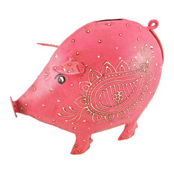 Cool Pink Pig Metal Money Bank Distressed Finish - This beautiful pink pig money bank gives a great antique touch to almost any room. Made of welded metal, the pig has a wonderful distressed pink enamel finish, that gives it an aged look, and had hand-painted off white enamel accents. The bank measures 8 inches tall, 9 1/2 inches long and 4 inches wide. It has a plastic stopper on the bottom, so you can easily retrieve your coins. This bank makes a great gift for pig lovers.