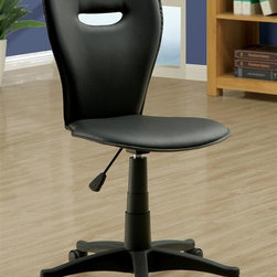 Monarch Specialties - Open Back Office Chair - Contemporary style. Five casters. Black finish. 18 in. W x 19 in. D x 40 in. H (17 lbs.)This stylish office chair will add cool look and comfort to your home office. Not only is the supportive chair back stylish with its open back, but it also provides comfortable seating. Create a functional and stylish home office with this casual contemporary office chair.